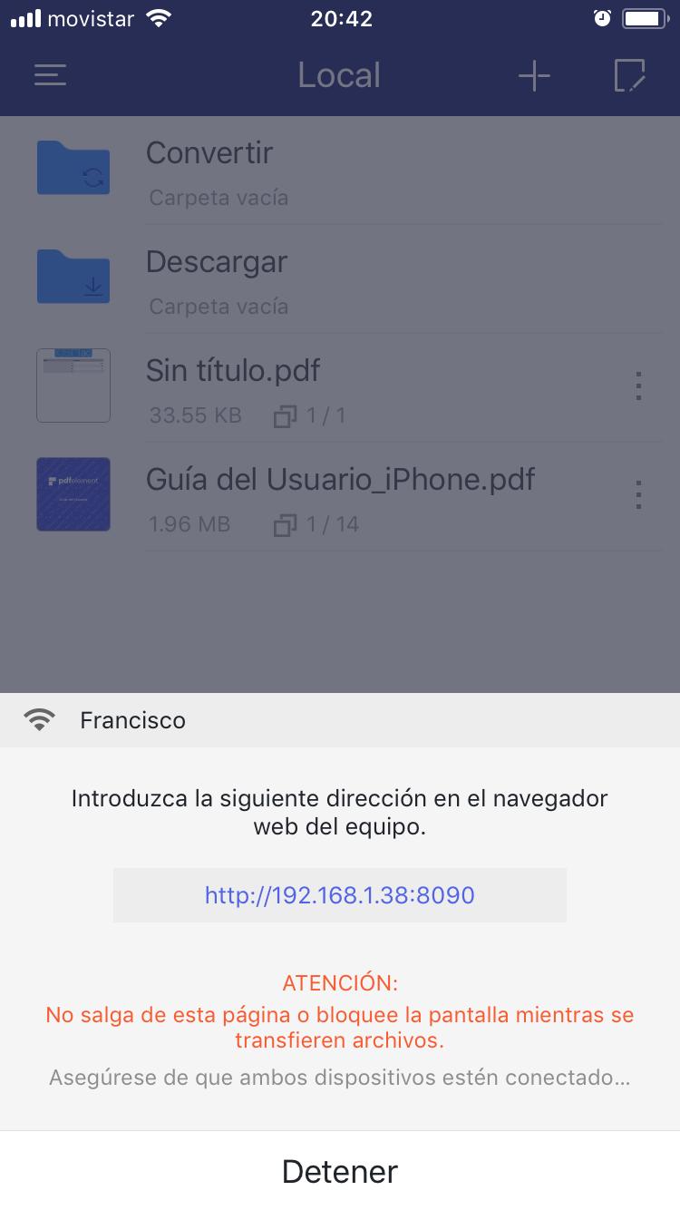 PDFelement para iOS: añadir desde ordenador