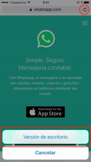 WhatsApp web en el iPad o iPhone