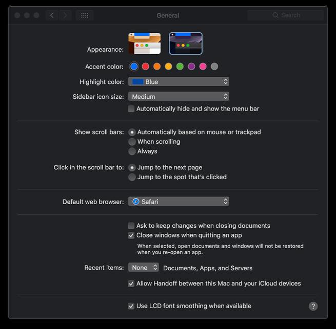 Cómo activar el modo oscuro en macOS 10.14 Mojave