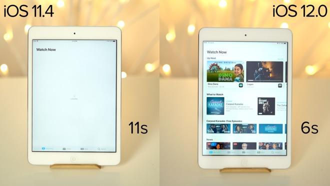 Comparativa de velocidad entre iOS 11 y iOS 12 en iPhone 6 y iPad 2 Mini [Vídeo]