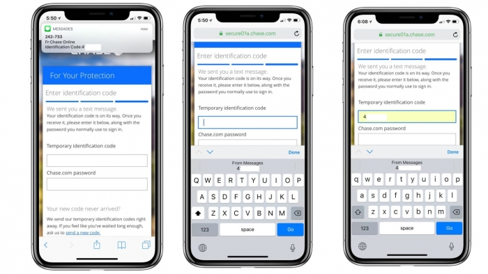Función auto completar código de seguridad iOS 12