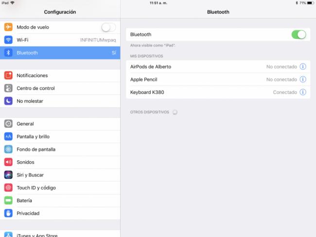 Ajustes de teclado físico en iPad