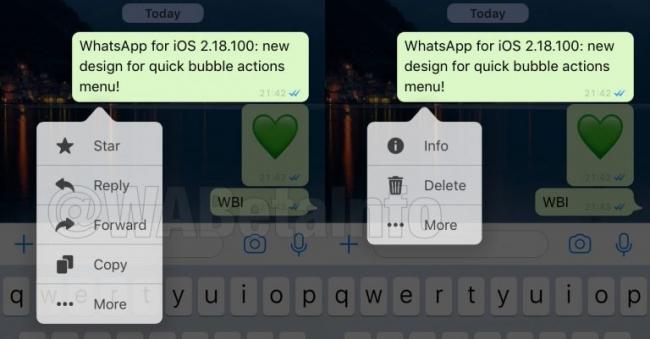 Menú rediseñado de WhatsApp
