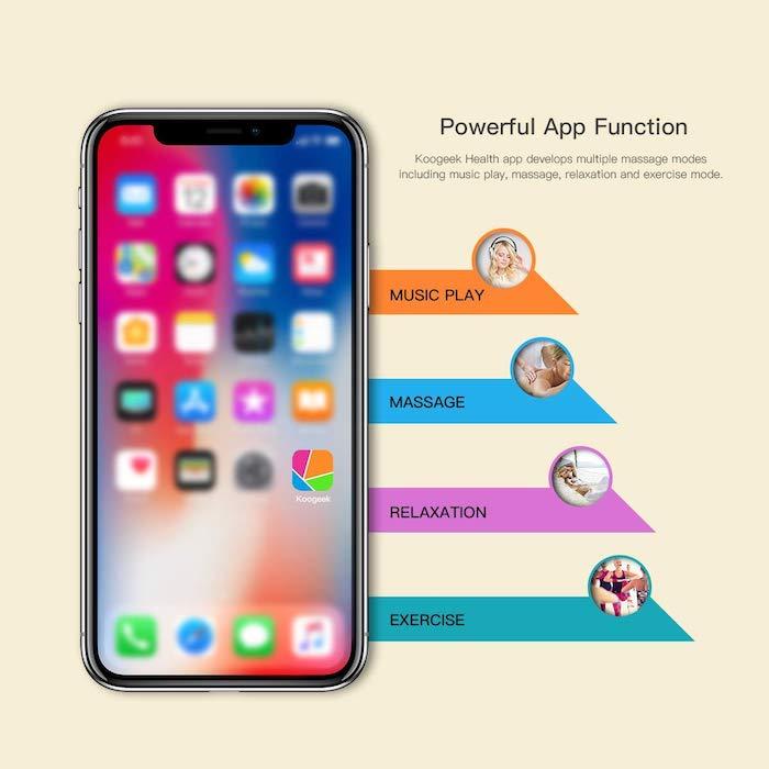 Electroestimulador Koogeek controlado desde el iPhone o iPad