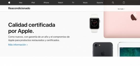 Apple renueva el diseño de la sección de productos restaurados en su web