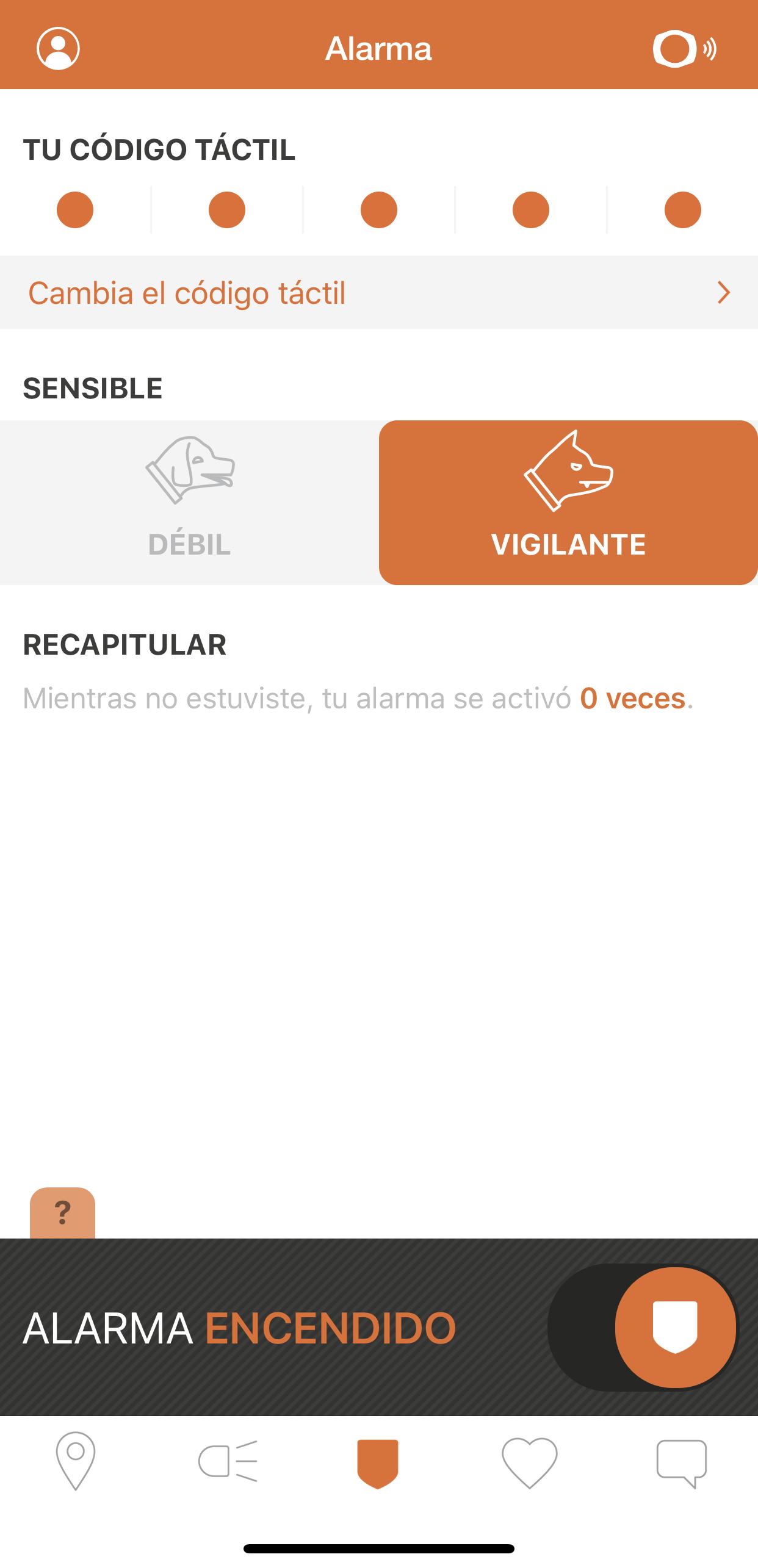 Vista de alarma en la aplicacion SmartHalo