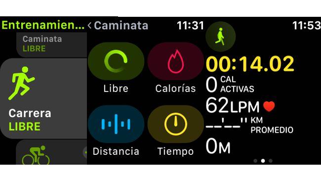Entrenamiento app Watch