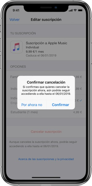 Apple Music gestión iPhone