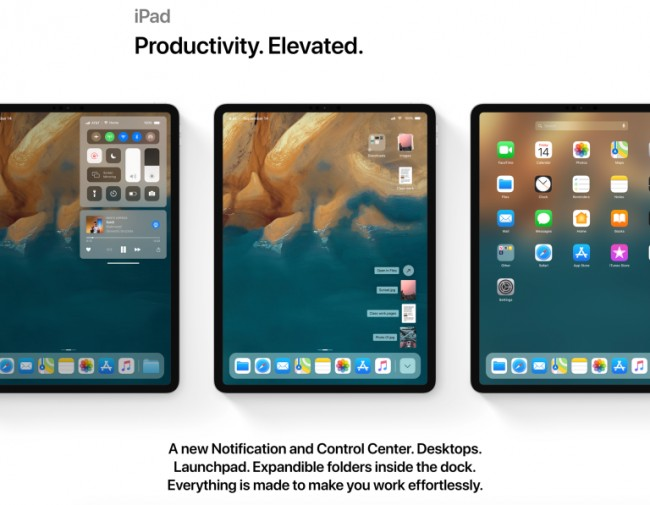 Concepto de iOS 13 en iPad