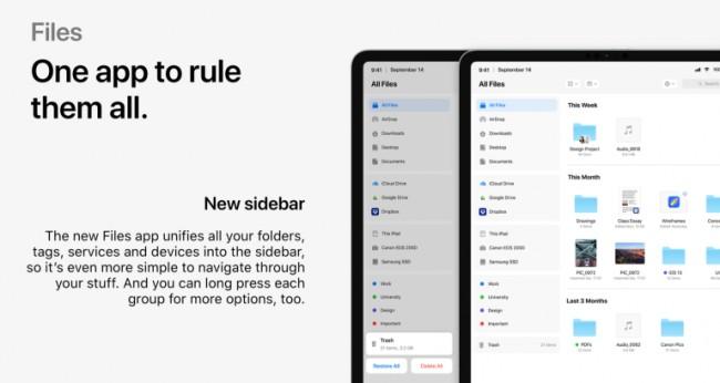 Aplicación de Archivos en iOS 13 para iPad