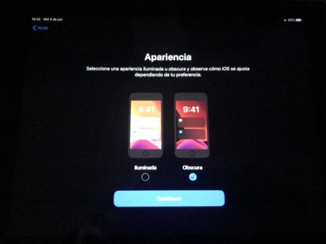 Modo oscuro inicio iOS 13