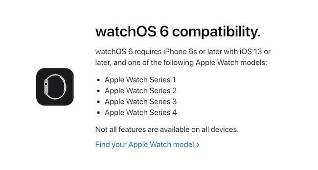 Compatibilidad watchOS 6