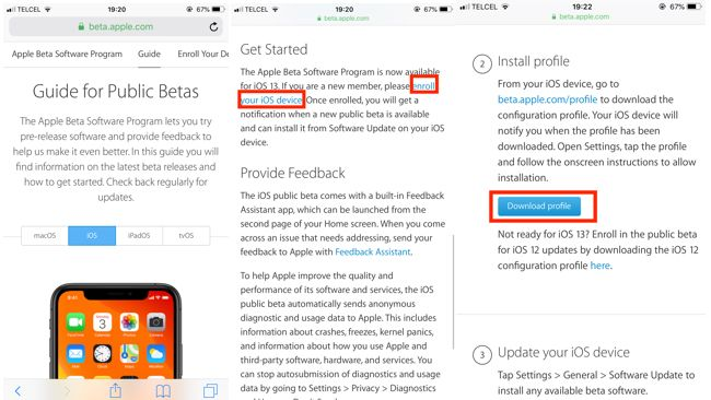 Instalación beta pública iOS 13
