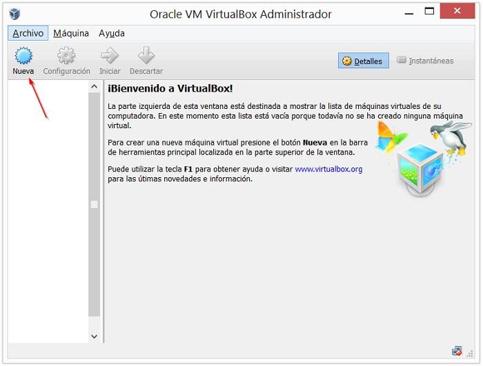 Administrador Oracle VirtualBox