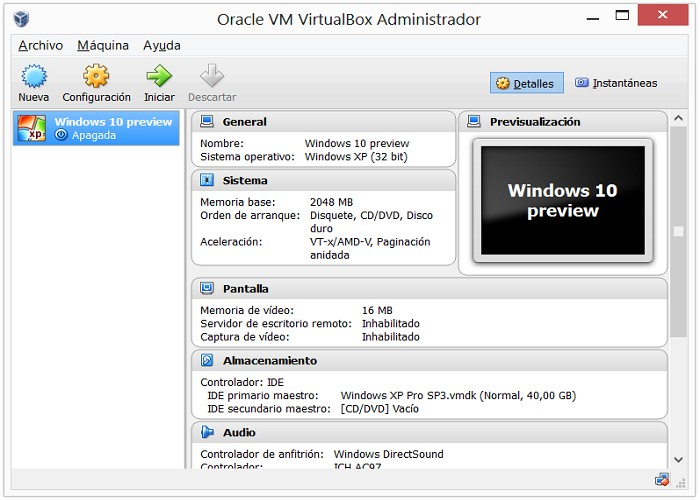 Vista previa de VirtualBox