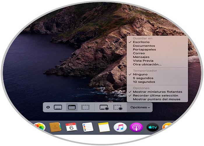 opciones de captura de pantalla