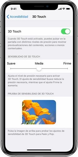 Sensibilidad 3D Touch