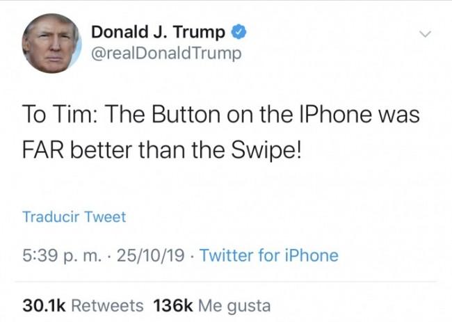 Tweet de Donald Trump contra Face ID