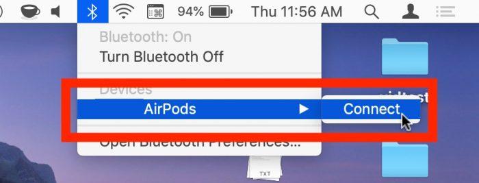 Conectar AirPods en el Mac