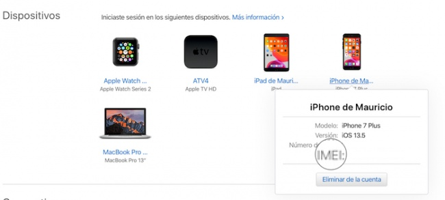 Dispositivos en web de Apple