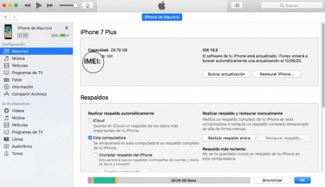 iTunes IMEI del iPhone