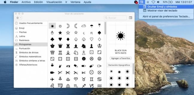 Emoji y catálogo de símbolos ocultos en Mac