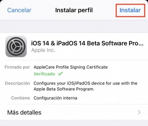 Instala el perfil - Beta pública de iOS 14
